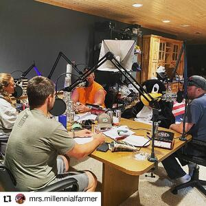 Zach and team recording the podcast