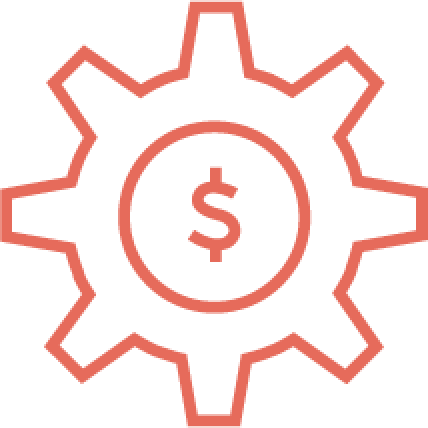 Gear with money sign inside icon